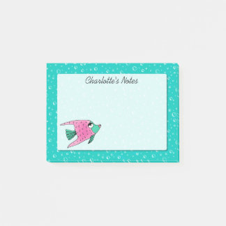 Tropical Fish Pink and Teal Personalized Post-it Notes