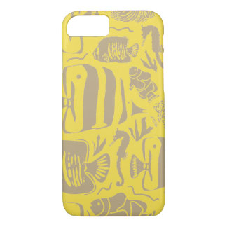 Tropical Fish Tank Illustration_Yellow iPhone 8/7 Case