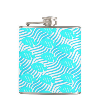 Tropical fishes hip flask