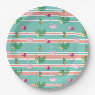 Tropical Flamingo 9inch Party Paper Plates