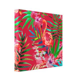 Tropical flamingo art canvas print