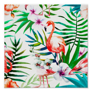 Tropical flamingo art poster