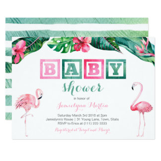 Tropical Flamingo Baby Shower Invites, foliage Card