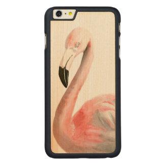 Tropical Flamingo Bird Carved Maple iPhone 6 Plus Case