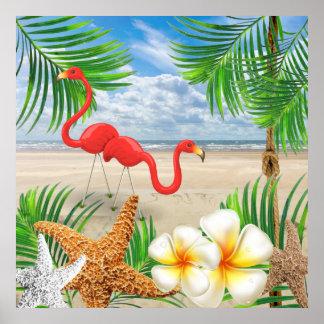 Tropical Flamingo Birds at the Beach Poster