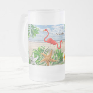Tropical Flamingo Birds on the Beach Frosted Glass Beer Mug