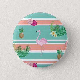 Tropical Flamingo Button Badge
