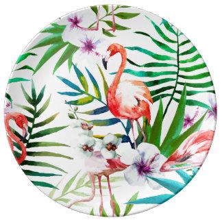 Tropical Flamingo Hibiscus Decorative Plate