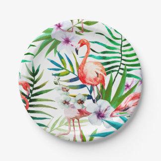 Tropical Flamingo Hibiscus Paper Plates