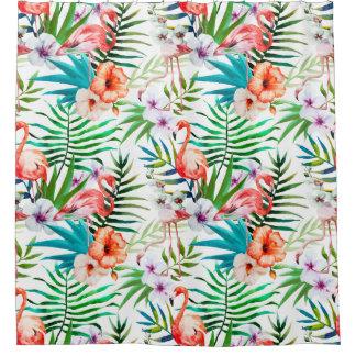Tropical Flamingo Hibiscus Shower Curtain