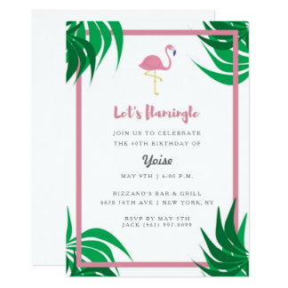 "Tropical Flamingo ""Let's Flamingle"" Birthday Party Card"