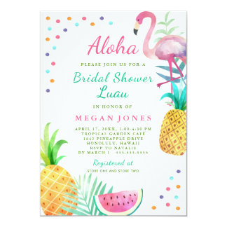 Tropical Flamingo Pineapple Bridal Shower Luau Card