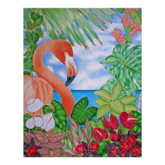 Tropical Flamingo Poster