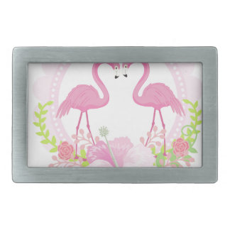 TROPICAL FLAMINGO with Hibiscus  flower Belt Buckles