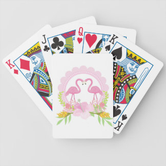 TROPICAL FLAMINGO with Hibiscus  flower Bicycle Playing Cards