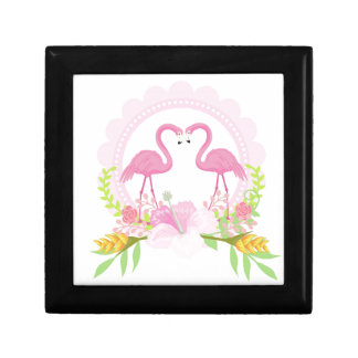 TROPICAL FLAMINGO with Hibiscus  flower Gift Box