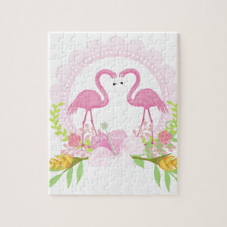 TROPICAL FLAMINGO with Hibiscus  flower Jigsaw Puzzle