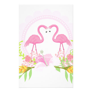 TROPICAL FLAMINGO with Hibiscus  flower Stationery
