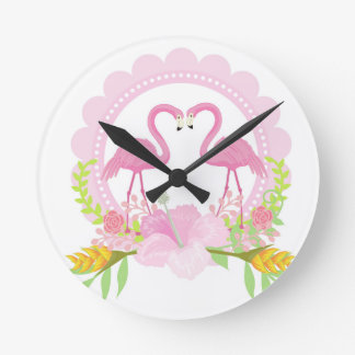 TROPICAL FLAMINGO with Hibiscus  flower Wall Clock