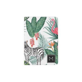 Tropical Flamingo & Zebra | Add Your Initial Passport Holder
