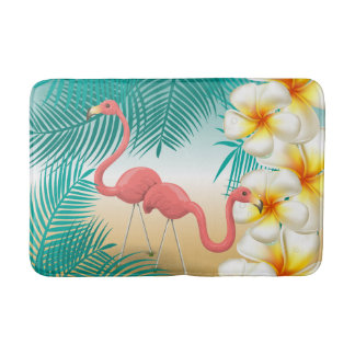 Tropical Flamingos Beach Paradise Bath Mat