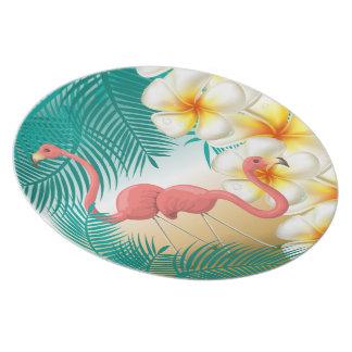 Tropical Flamingos Beach Paradise Plate