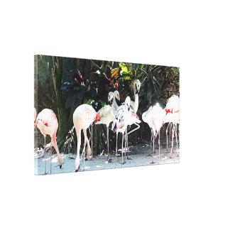 Tropical Flamingos Stretched Canvas Print
