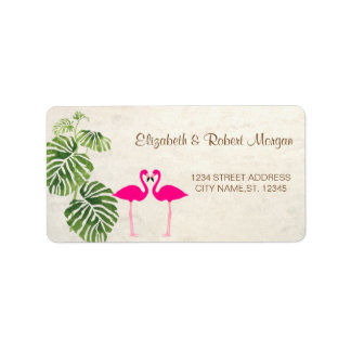 Tropical Flamingos Wedding Label