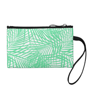 Tropical flat green leaves coin purse