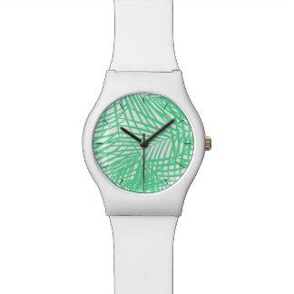 Tropical flat green leaves watch