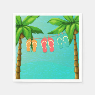 Tropical Flip Flops Paper Napkin