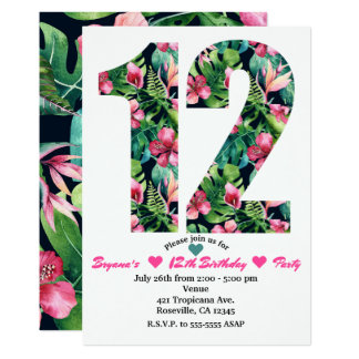 Tropical Floral 12 12th Birthday Party Invitation