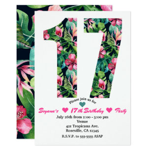 17th birthday invitations zazzle tropical floral 17 17th birthday party invitation stopboris Images