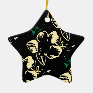 Tropical floral black, cream, green ceramic star decoration