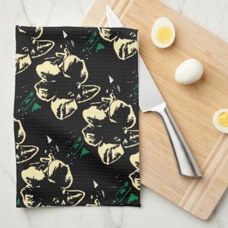 Tropical floral black, cream, green kitchen towels
