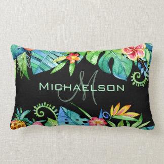 Tropical Floral Black Custom Lumbar Cushion
