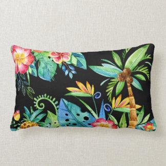 Tropical Floral Black Lumbar Cushion