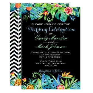 Tropical Floral Black Wedding Invitation