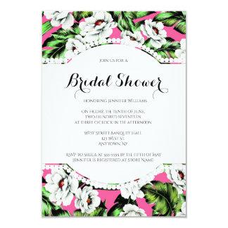 Tropical floral bridal shower invitations
