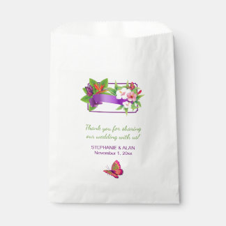 Tropical Floral Butterfly Wedding Favour Bags