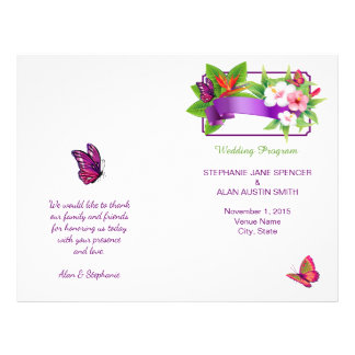 Tropical Floral Butterfly Wedding Program 21.5 Cm X 28 Cm Flyer