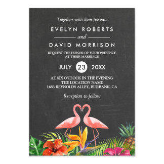 Tropical Floral Chalkboard Flamingo Formal Wedding Card