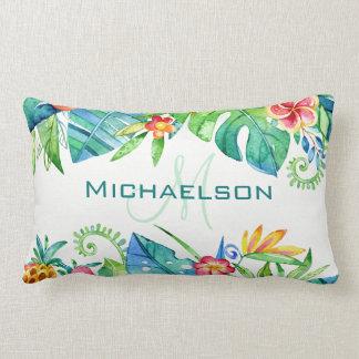 Tropical Floral Custom Lumbar Cushion
