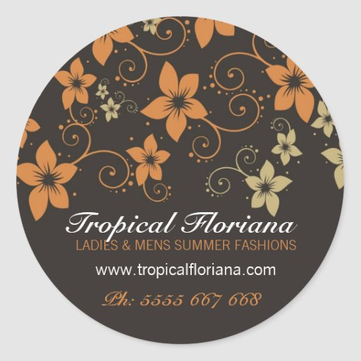 Tropical Floral Fashion Business Promotion Sticker