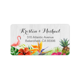 Tropical Floral Flamingo Pineapple Rustic Wood Label