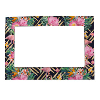 tropical floral flamingos and gold strokes frame magnet