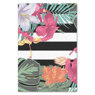 Tropical Floral Flowers Leaves Black White Stripes Tissue Paper