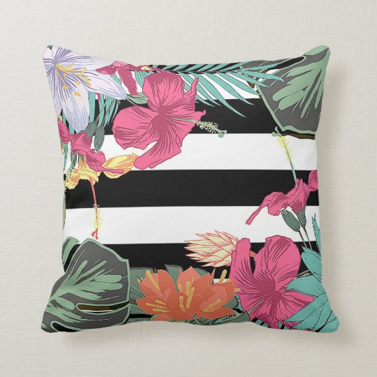 Tropical Floral Flowers Leaves Chic Botanical Cushion