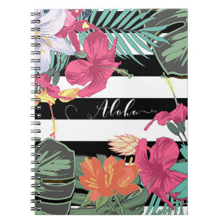 Tropical Floral Flowers Leaves Chic Botanical Notebook