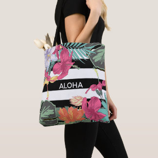 Tropical Floral Flowers Leaves Chic Botanical Tote Bag